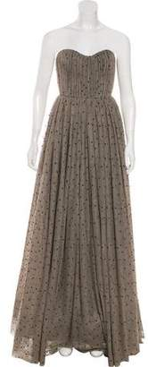 Alice + Olivia Metallic-Accented Strapless Gown w/ Tags