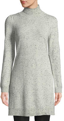 Co Turtleneck Long-Sleeve Side-Slit Speckle Cashmere Tunic