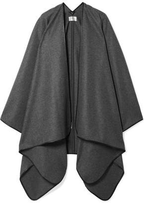 The Row Shane Leather-trimmed Wool Cape - Dark gray