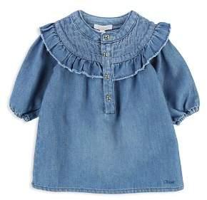 Chloé Girls' Ruffle Detail Denim Dress - Baby