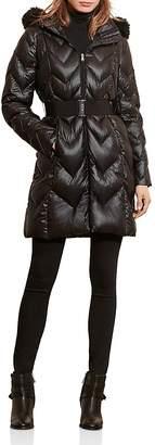 Lauren Ralph Lauren Faux Fur Trim Chevron Quilted Puffer Coat