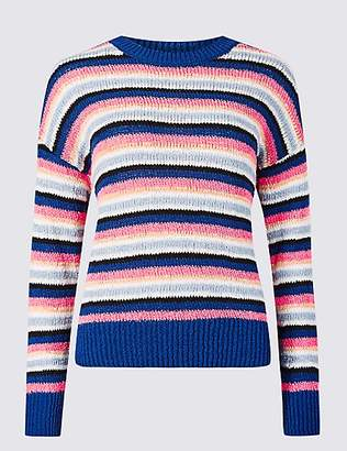 M&S Collection Striped Round Neck Recycled Yarn Jumper