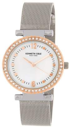 Kenneth Cole New York Women's Crystal Embellished Mother of Pearl Mesh Strap Watch, 32mm