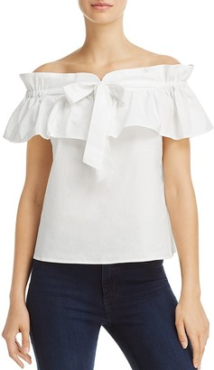 JOA Off-the-Shoulder Ruffled-Drawstring Top - 100% Exclusive $78 thestylecure.com