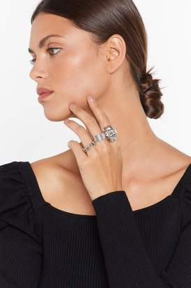 Nasty Gal Womens Head Of The Pack 3-Pc Ring Set - Grey - One Size