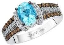 LeVian Le Vian Chocolatier Vanilla Diamonds, Chocolate Diamonds, Sea Blue Aquamarine and 14K Vanilla Gold Ring