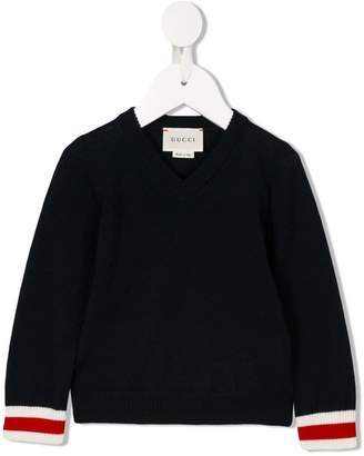 Gucci Kids Web v-neck jumper