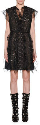 Giambattista Valli Ruffle-Trim Lace & Dot Panel V-Neck Dress