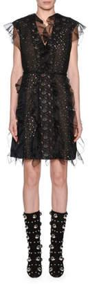 Giambattista Valli Ruffle-Trim Lace & Dot Panel V-Neck Dress