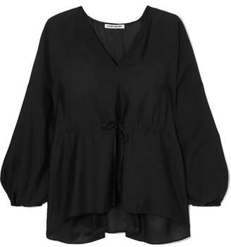 Elizabeth and James Angela Ruched Voile Blouse - Black