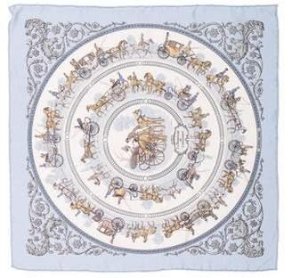 Hermes La Promenade De Longchamps Silk Pocket Square