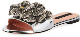 Rochas Shiny Leather Flat Slide Sandal with Crystal Flower