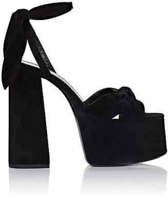 Saint Laurent Women's Suede Platform Sandals - Black