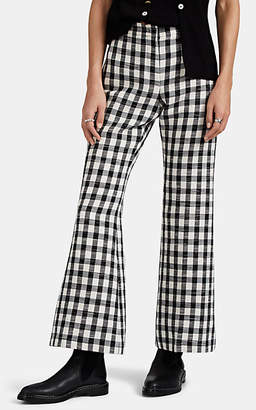 Derek Lam Women's Gingham Cotton-Blend Flared Pants - Black-White
