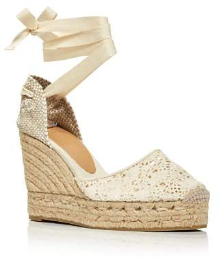 Castaner Women's Carina Crochet Platform Wedge Ankle Tie Espadrilles