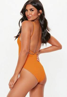 Missguided Orange Ribbed Strappy Plunge Front Swimsuit