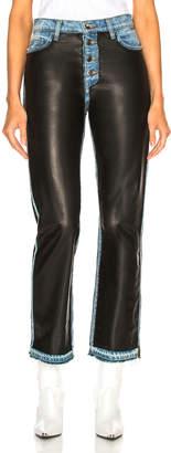 Amiri Leather Paneled Straight