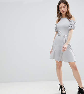 Lost Ink Petite Fit And Flare Dress In Texture With Tie Waist