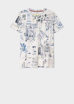 Women's White 'Journal' Print Cotton T-Shirt