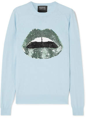 Markus Lupfer Mia Sequined Cotton Sweater - Blue
