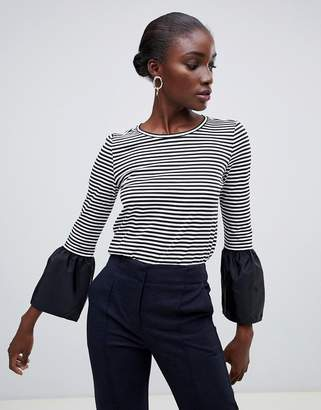 Finery Cowan breton stripe t-shirt with fluted cuffs