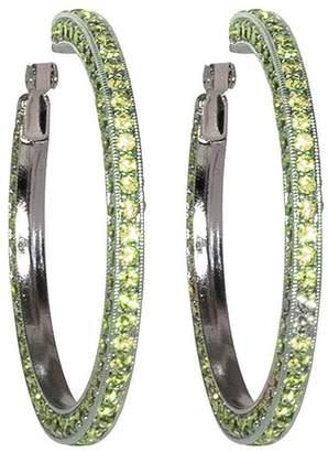 Kenneth Jay Lane Peridot Pave Large Hoop Clip Earrings