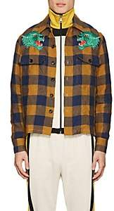 Gucci Men's Tiger-Patch Gingham Linen Shirt - Yellow