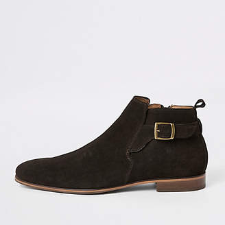 River Island Brown suede buckle Chelsea boot