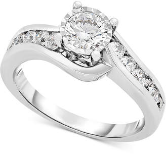 TruMiracle Diamond Swirl Bypass Engagement Ring (1 ct.t.w.) in 14k White Gold