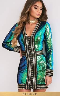 PrettyLittleThing Anisha Green Premium Embellished Sequin Bodycon Dress