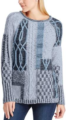 Chaps Women's Patchwork Crewneck Sweater
