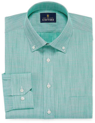 STAFFORD Stafford Slub Linen Look Long Sleeve Broadcloth Dress Shirt