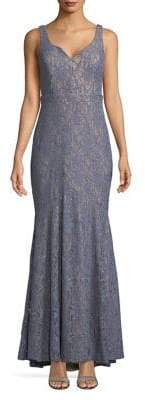 Betsy & Adam Embroidered Lace Floor-Length Dress