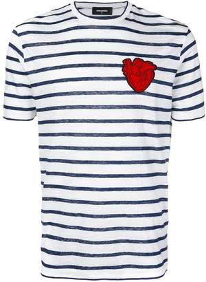 DSQUARED2 striped T-shirt with heart patch