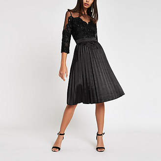 River Island Chi Chi London black lace mesh flare dress
