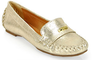 Kate Spade Weekend - Gold Cracked Leather Loafer