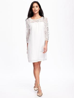Lace-Trim Shift Dress for Women $39.94 thestylecure.com