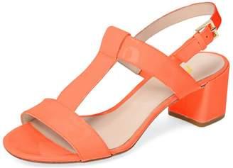 FSJ Women Comfortable Mid Heels Sandals T Strap Open Toe Buckle Casual Dress Shoes Size 9