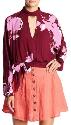Free People Floral Keyhole Shirt