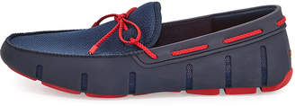 Swims Men's Mesh & Rubber Braided-Lace Boat Shoes, Navy/Red
