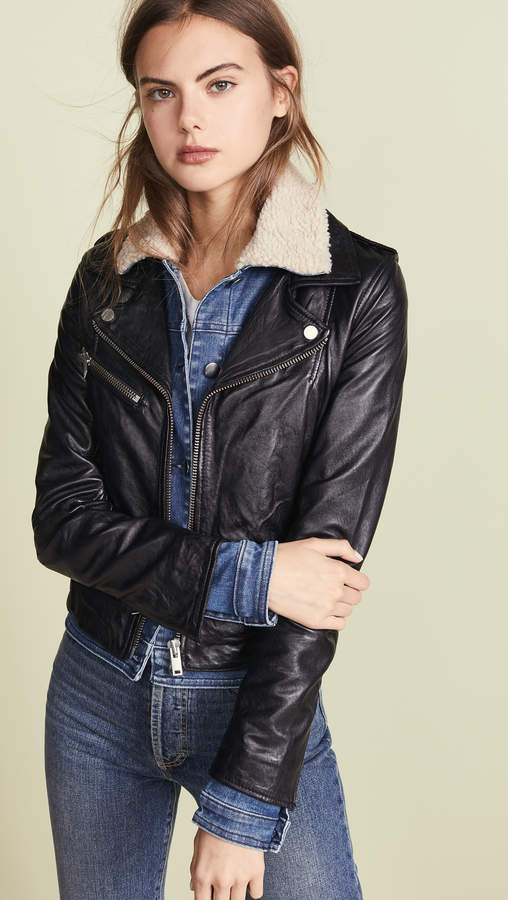 Sherpa Denim Leather Jacket