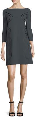 Chiara Boni Elfrida Boat-Neck 3/4 Sleeves Dress w/ Faux-Leather Trim