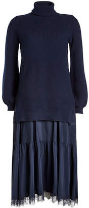 N°21 N21 Dress with Fleece Wool Pullover and Satin Skirt
