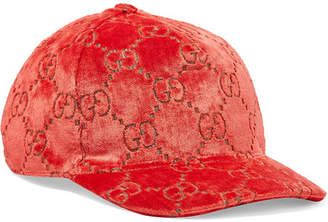 Gucci Metallic Velvet-jacquard Baseball Cap - Red