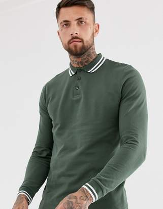 Asos Design DESIGN long sleeve tipped pique polo shirt in khaki