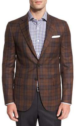 Isaia Plaid Super 140s Two-Button Sport Coat, Camel/Navy
