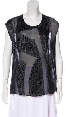 Helmut Lang Leather-Trimmed Metallic Sleeveless Top