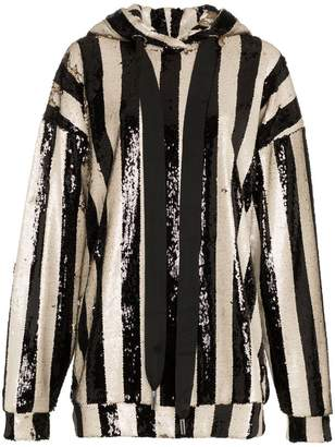 Marques Almeida Marques Almeida stripe sequin embellished oversized hoodie 071d942d0