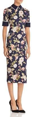 Alice + Olivia Delora Collared Floral Print Midi Dress