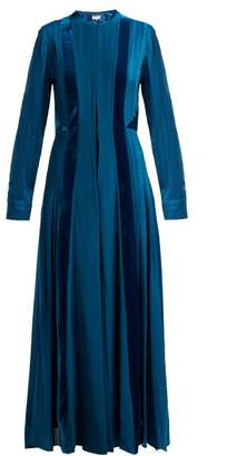 Zeus + Dione - Justina Velvet Panel Silk Dress - Womens - Mid Blue